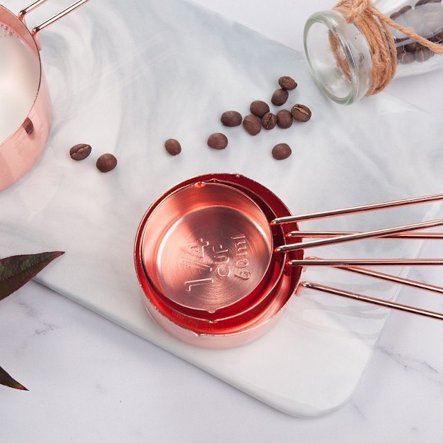 Clayy Rose Copper Measuring Cups and Spoons Set