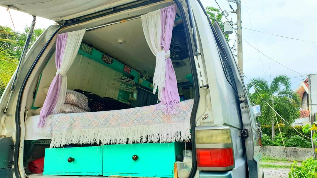 Interior of a van, customized into a home