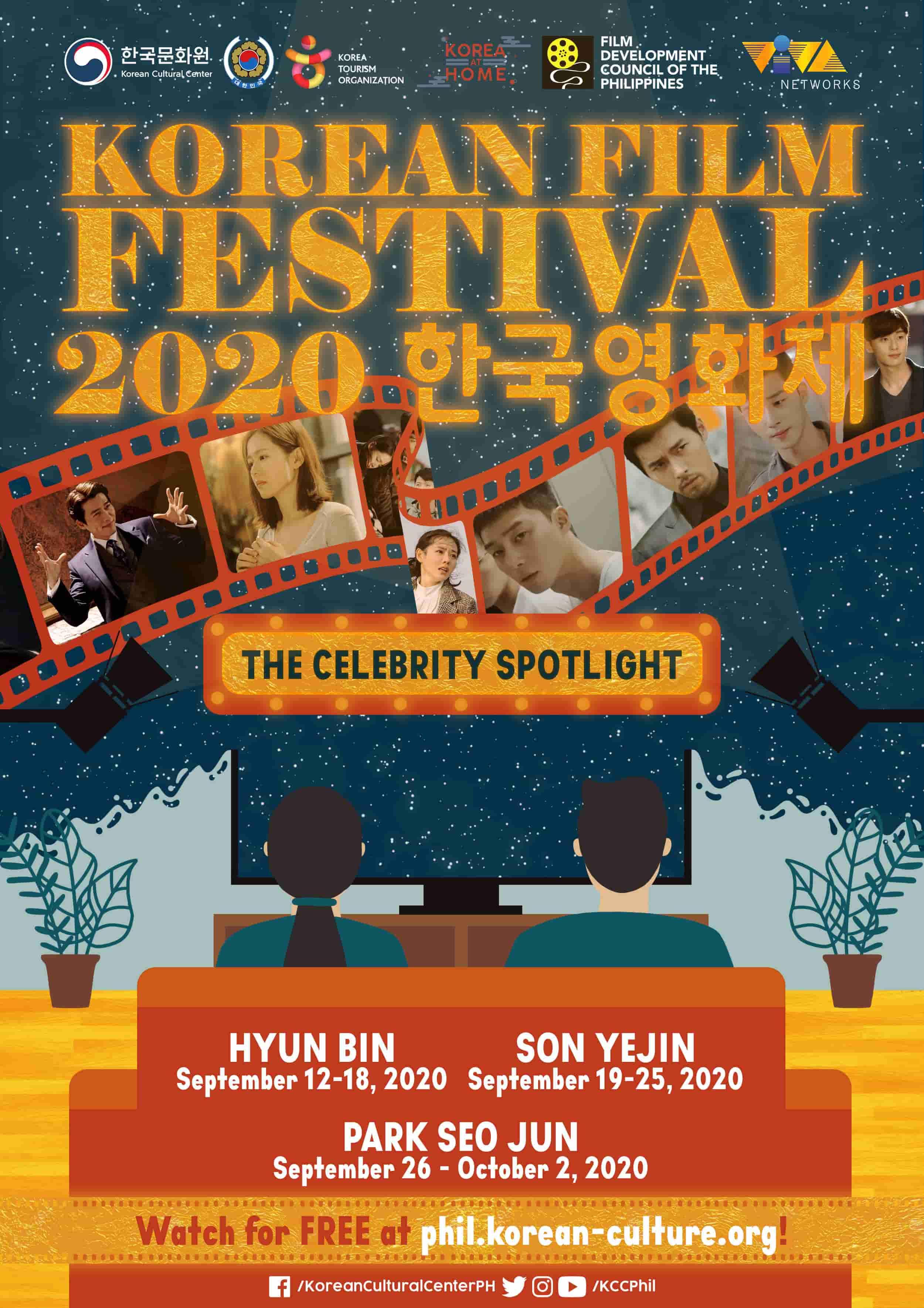 Korean Film Festival 2020 main poster featuring Park Seo Joon, Hyun Bin and Son Ye Jin movies