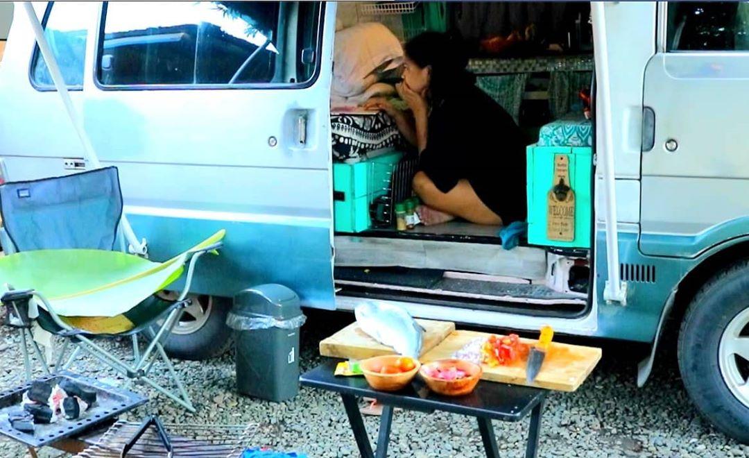 Van life, table with food, outside van