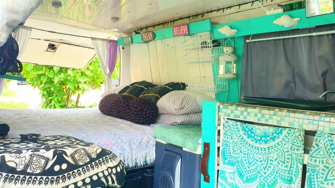 Interior of a van, converted into a home