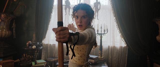 Millie Bobby Brown as Enola Holmes, the titular character of Netflix's new mystery movie.