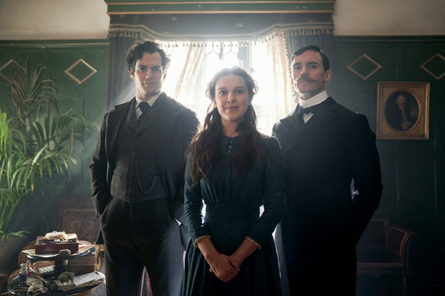 Henry Cavill, Millie Bobby Brown, and Sam Claflin as Sherlock, Enola, and Mycroft Holmes respectively, in Netflix's new movie, Enola Holmes.