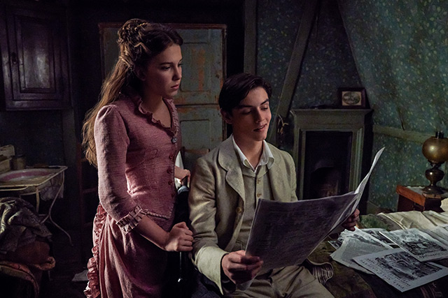 Millie Bobby Brown and Louis Partridge as Enola Holmes and Viscount Tewksbury in Netflix's new movie, Enola Holmes.