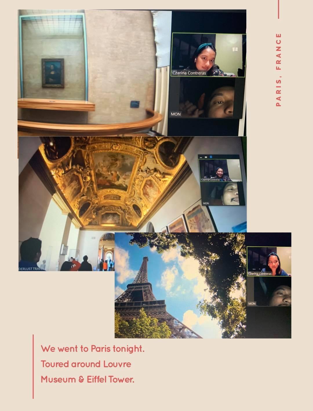Couple taking a virtual tour to Paris