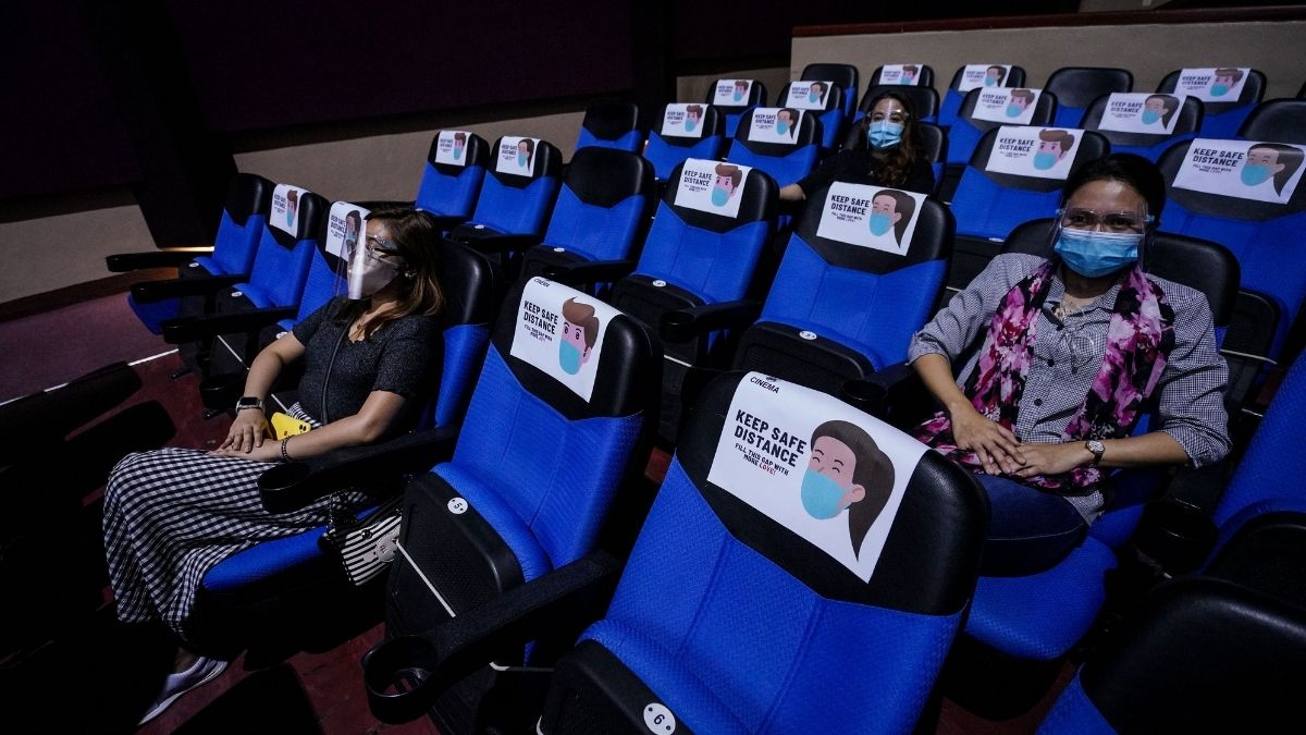 SM City Taytay disinfecting cinemas and movie theaters before reopening: two-seat gap