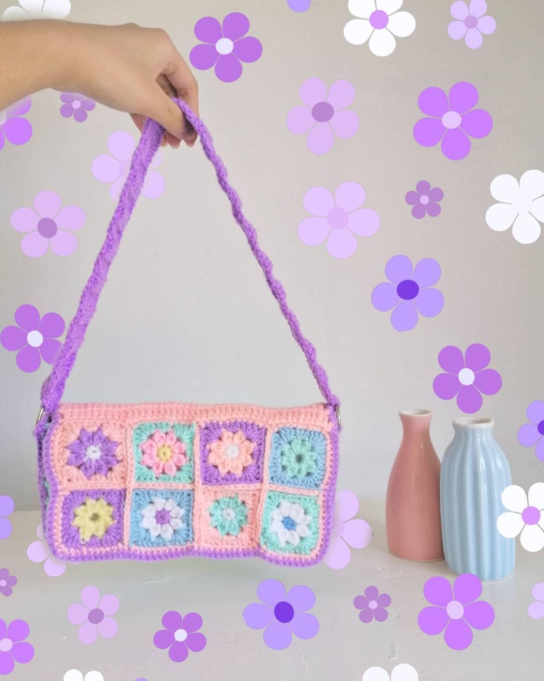 A colorful crochet baguette bag