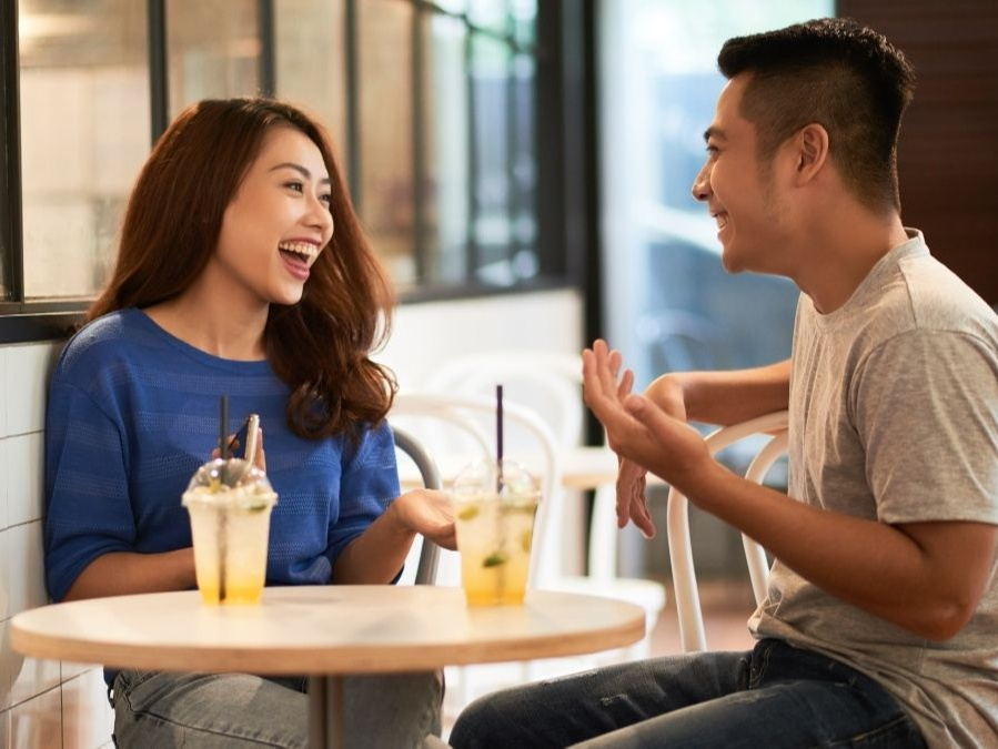 Couple talking, on a date
