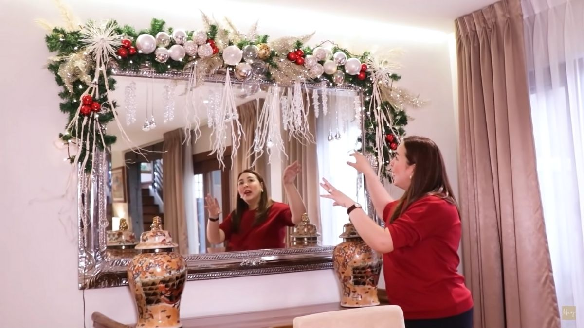 Marjorie Barretto Christmas house tour: Christmas lights and balls above the mirror
