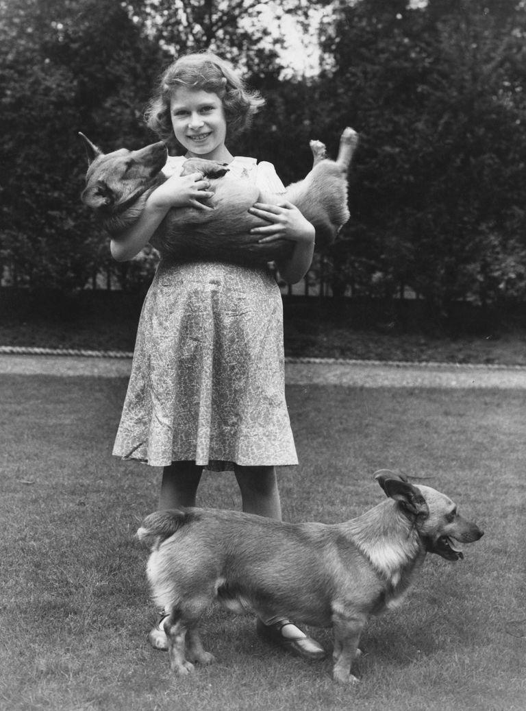 Young Queen Elizabeth II with her first corgi, Dookie.