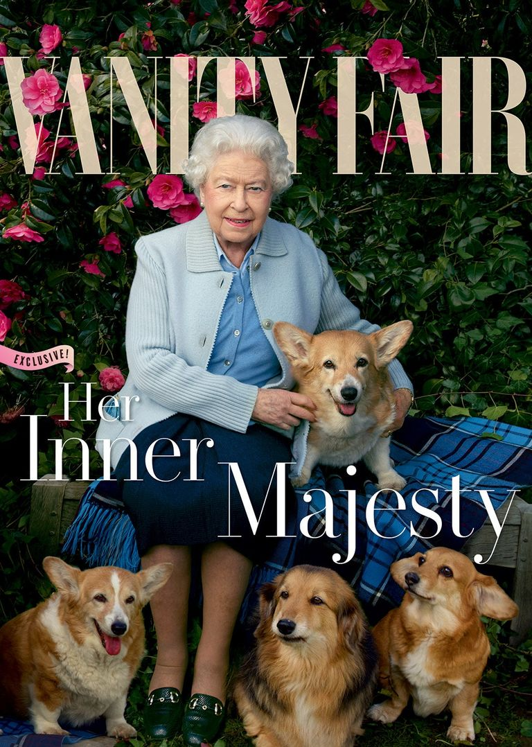 Vanity Fair cover of the Queen and her corgi