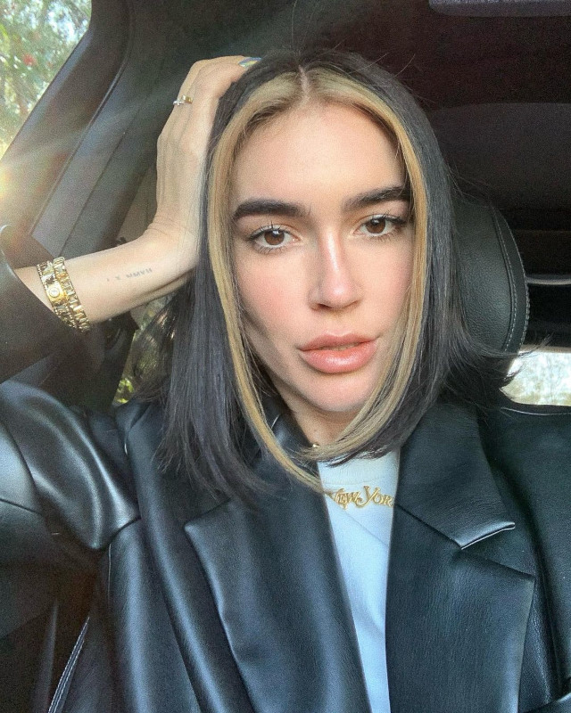 Best Blunt Cut Hairstyle: Lob with Chunky Highlights