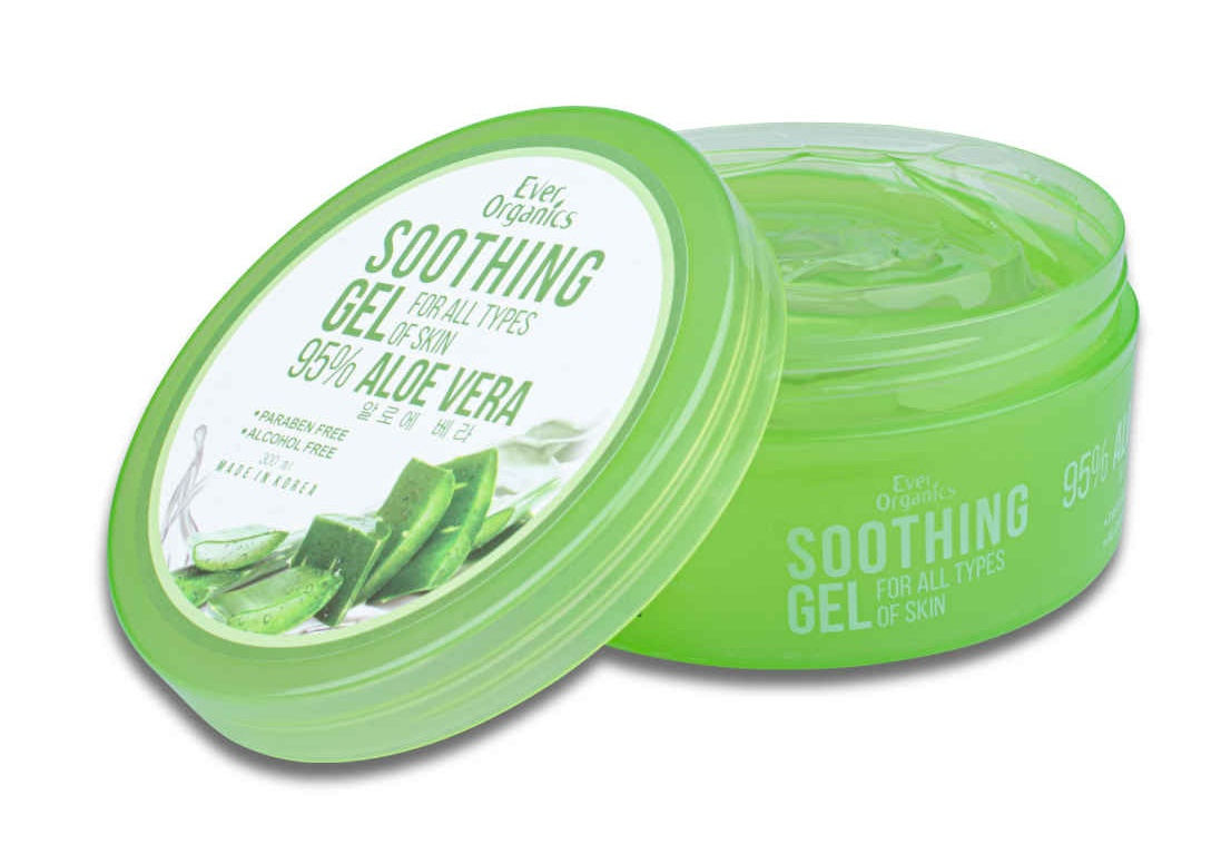 Routine for clear skin: Ever Organics 95% Aloe Vera Soothing Gel