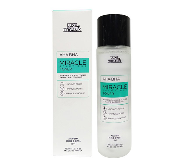 Best chemical exfoliator for oily skin: Luxe Organix Miracle Toner AHA/BHA Pore Clarifying Treatment