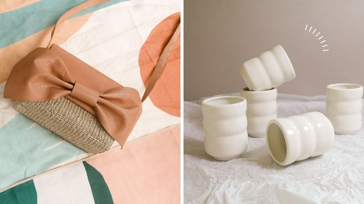 Frankie & Friends: Side by side photos of a leather bag and chic wavy cup