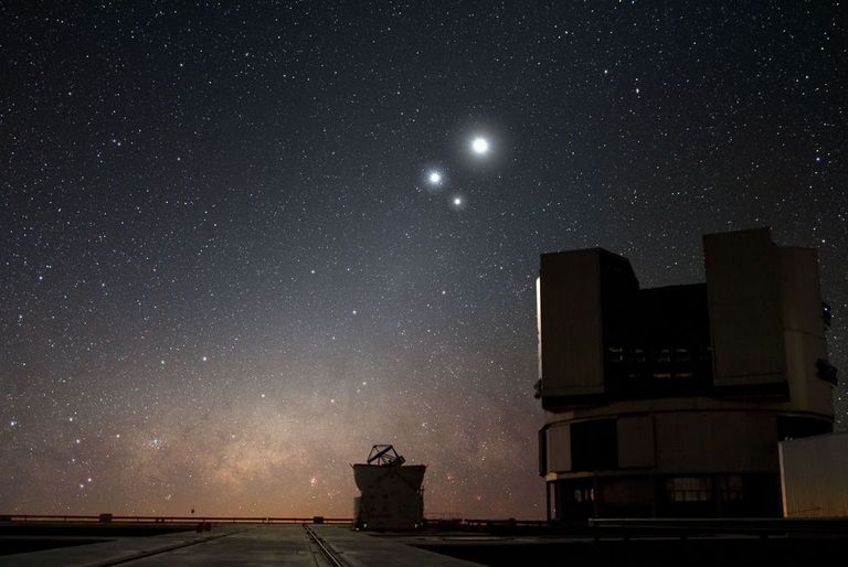 The triple conjunction of Jupiter, Venus, and the Moon, viewed from ESO's Very Large Telescope.