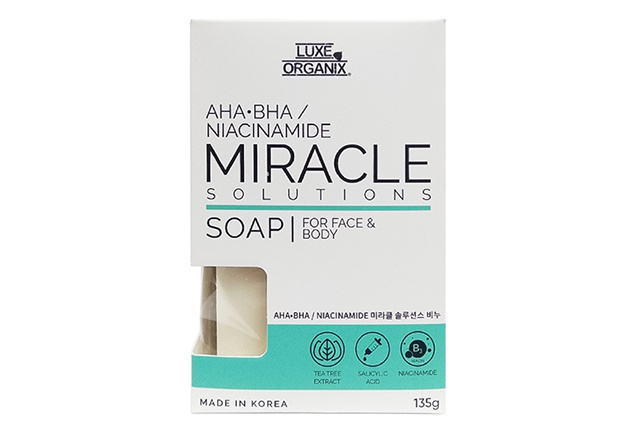 How to brighten elbows and knees: Luxe Organix AHA BHA Miracle Solutions Soap For Face And Body