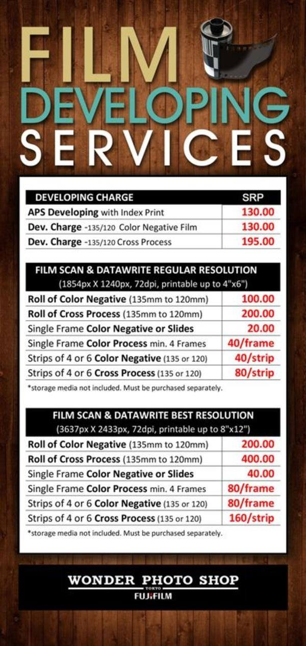 Film developing services and rates by Wonder Photo Shop Fujifilm