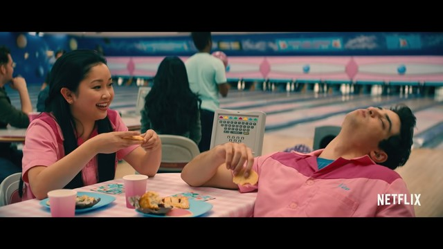 Super sweet moments between Lara Jean and Peter: Bowling alleyup scene