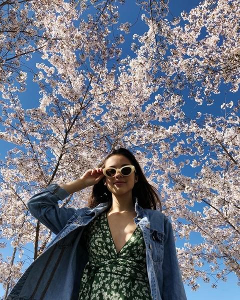 Olivia Rodriguez - Dress + denim jacket