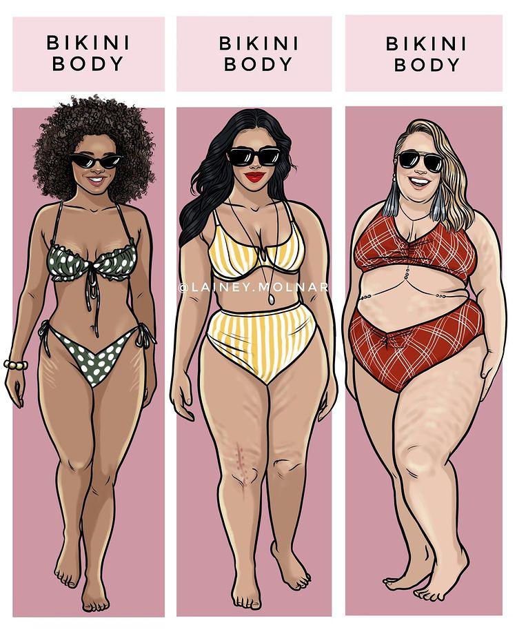 Artist Lainey Molnar creates an illustration about body positivity.