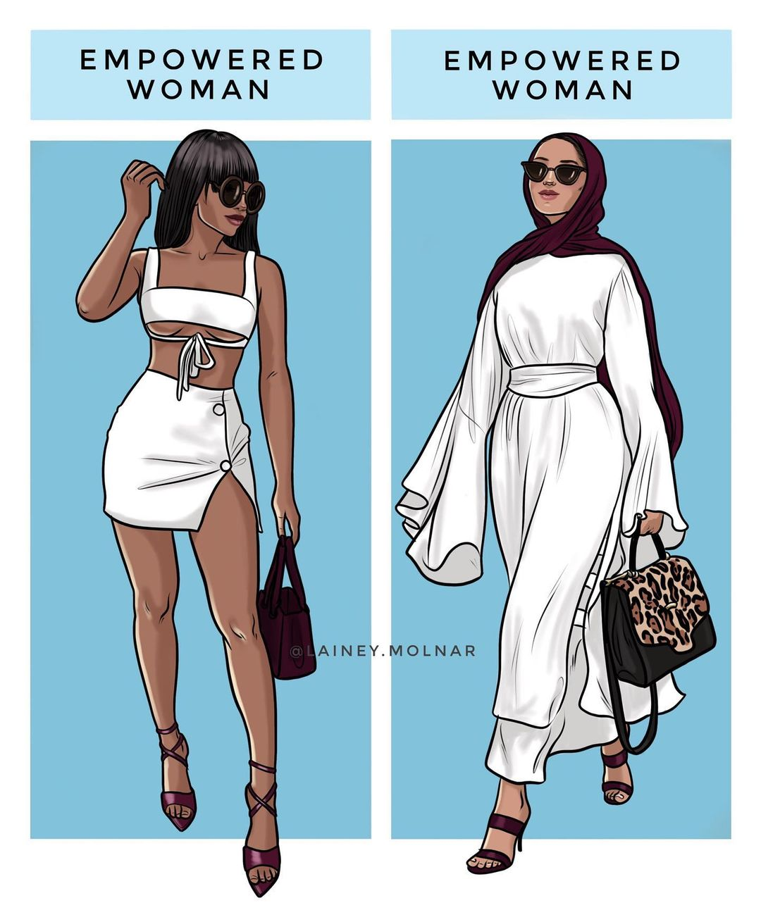 Artist Lainey Molnar creates an illustration showing an empowered woman.