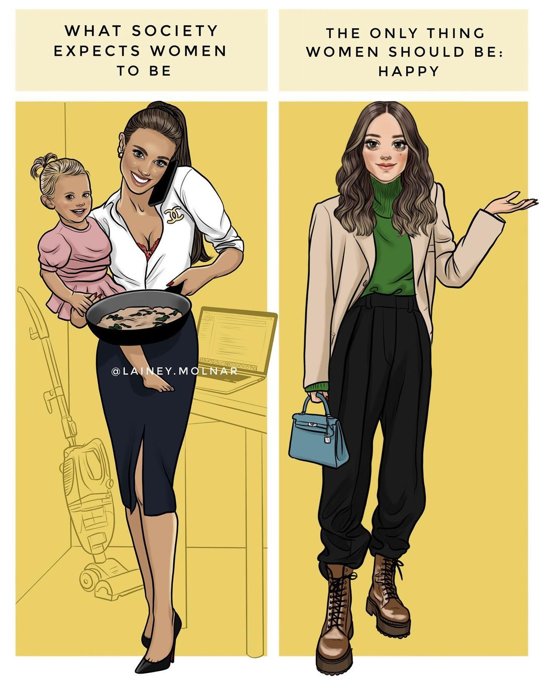 Artist Lainey Molnar creates an illustration about what society expects women to be vs what women should be.
