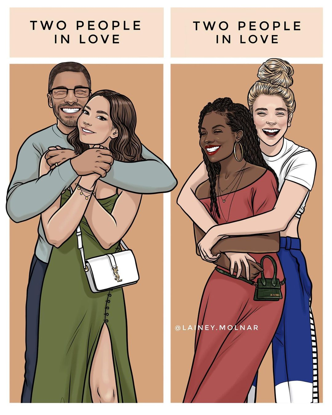 Artist Lainey Molnar creates an illustration showing two couples in love.