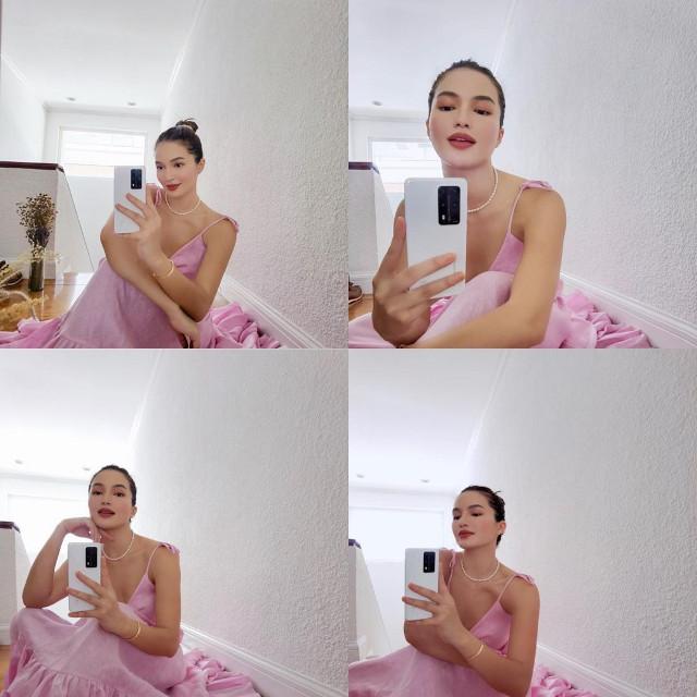 Home Photo Shoot Idea: Sarah Lahbati photo booth mirror selfies.