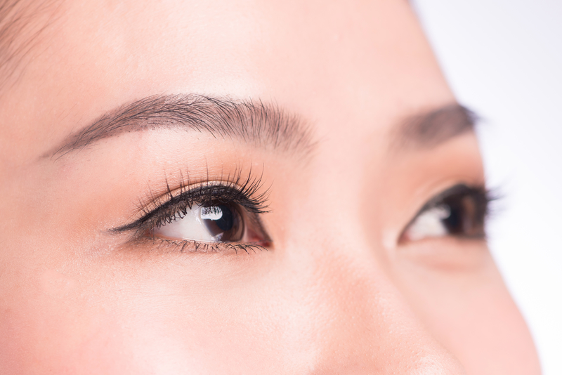 Close up image featuring a woman's eye brows and lashes