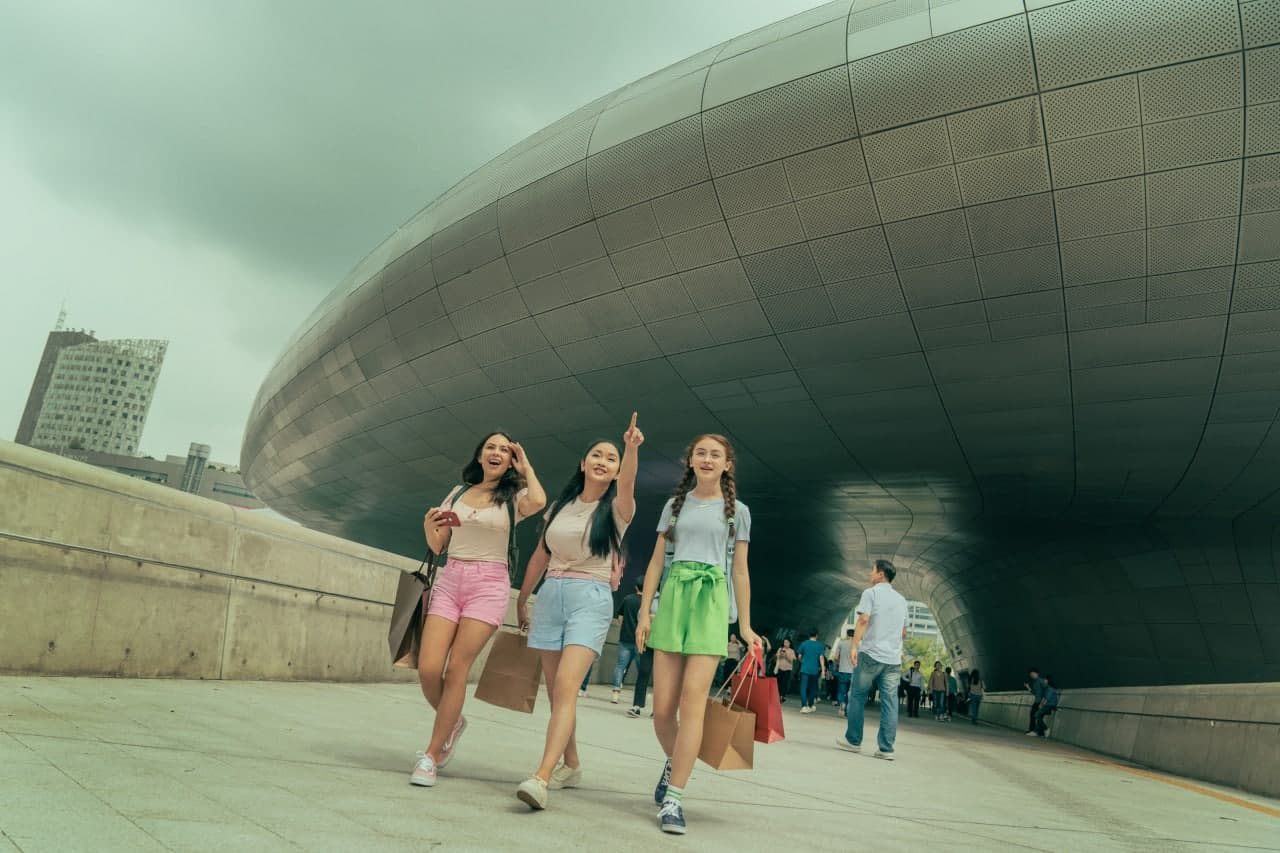 The Song-Covey sisters at the Dongdaemun Design Plaza