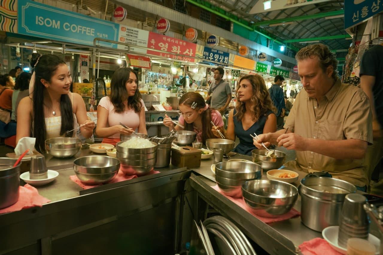 The Song-Coveys dining at the Gwangjang Market