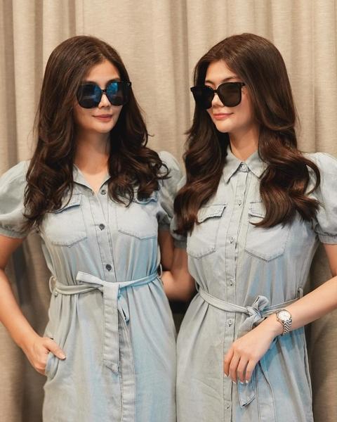 Vern and Verniece Enciso matching light blue safari dresses