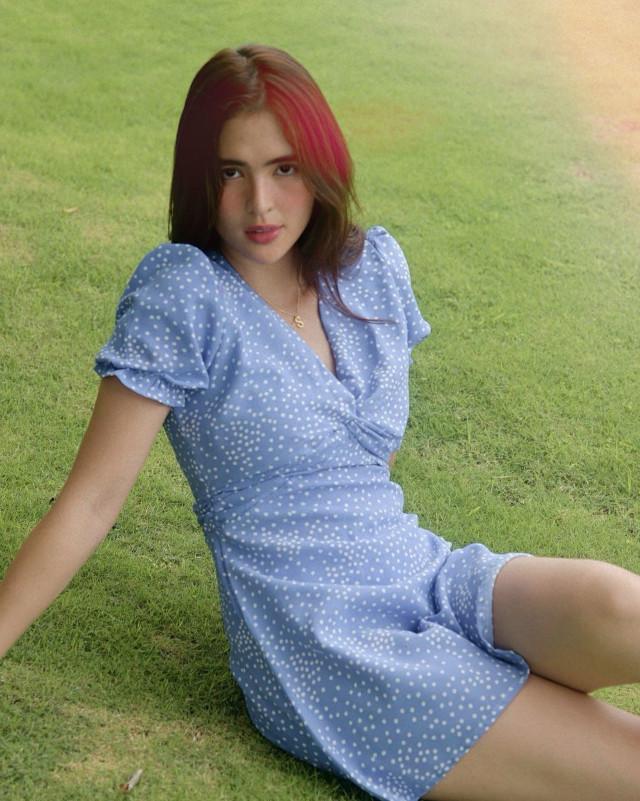Sofia Andres: Light Blue Dress