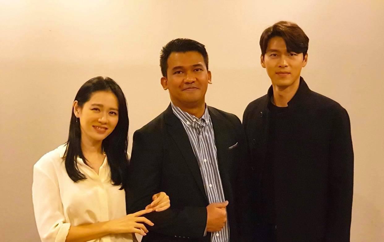 Christian Lagahit with Hyun Bin and Son Ye Ji