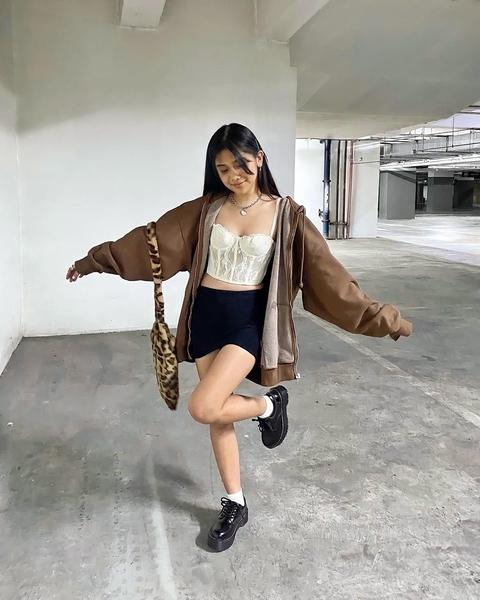 Ashley Garcia wearing chunky platform shoes