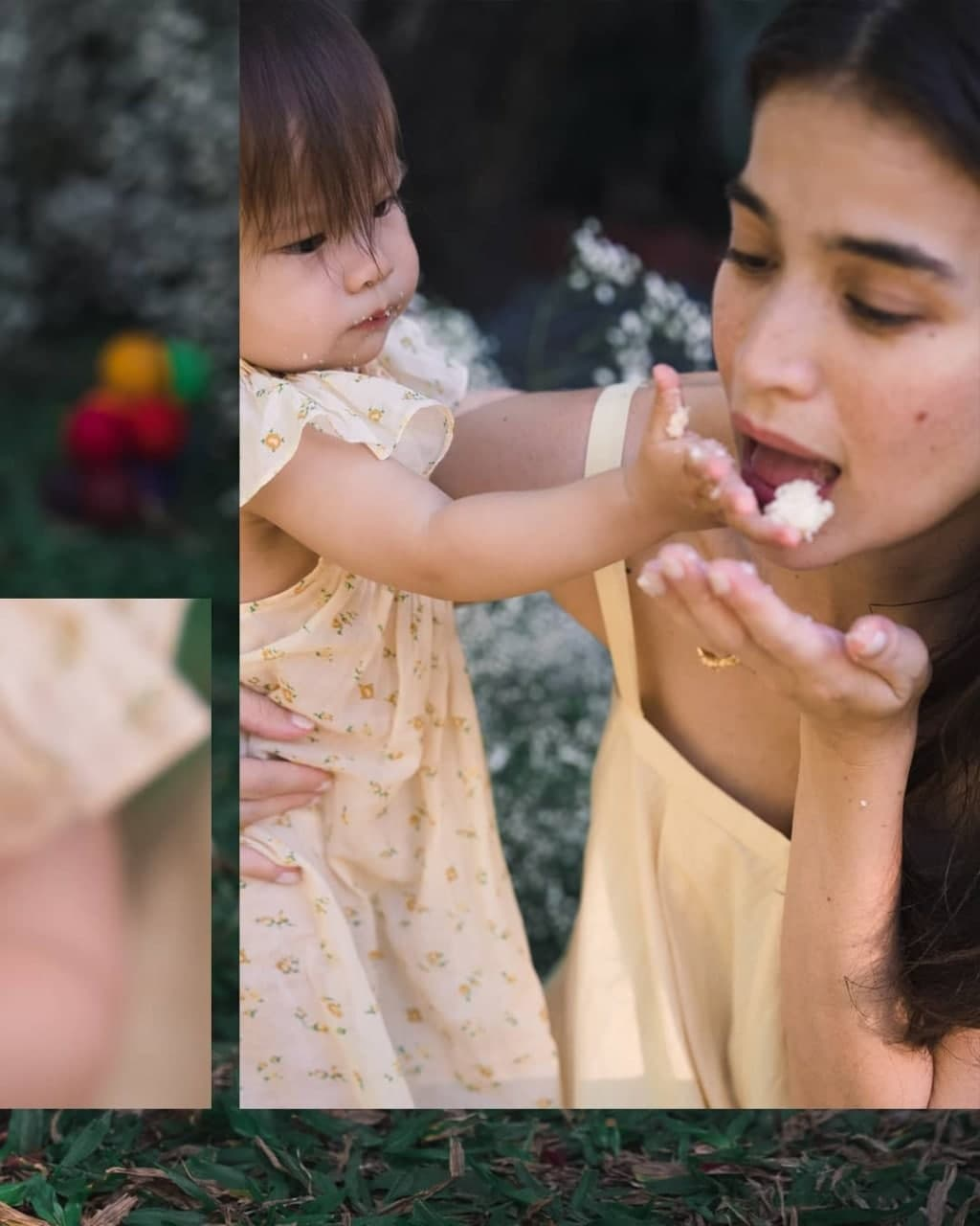 Dahlia Amélie sharing her cake with her mom