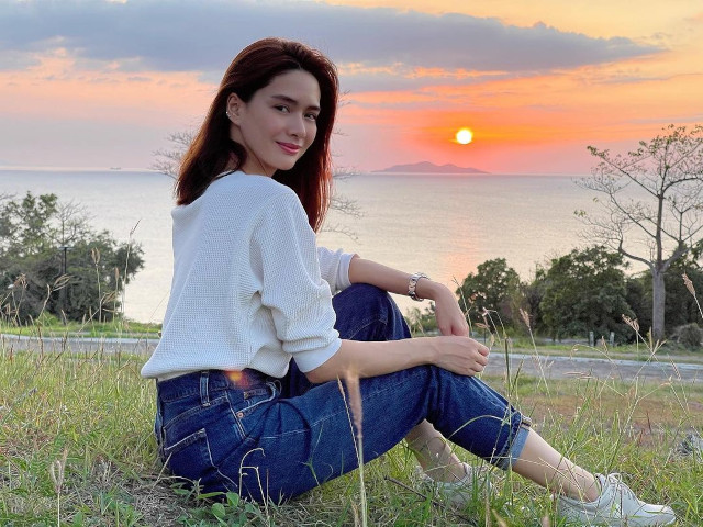 Erich Gonzales watching the sunset.