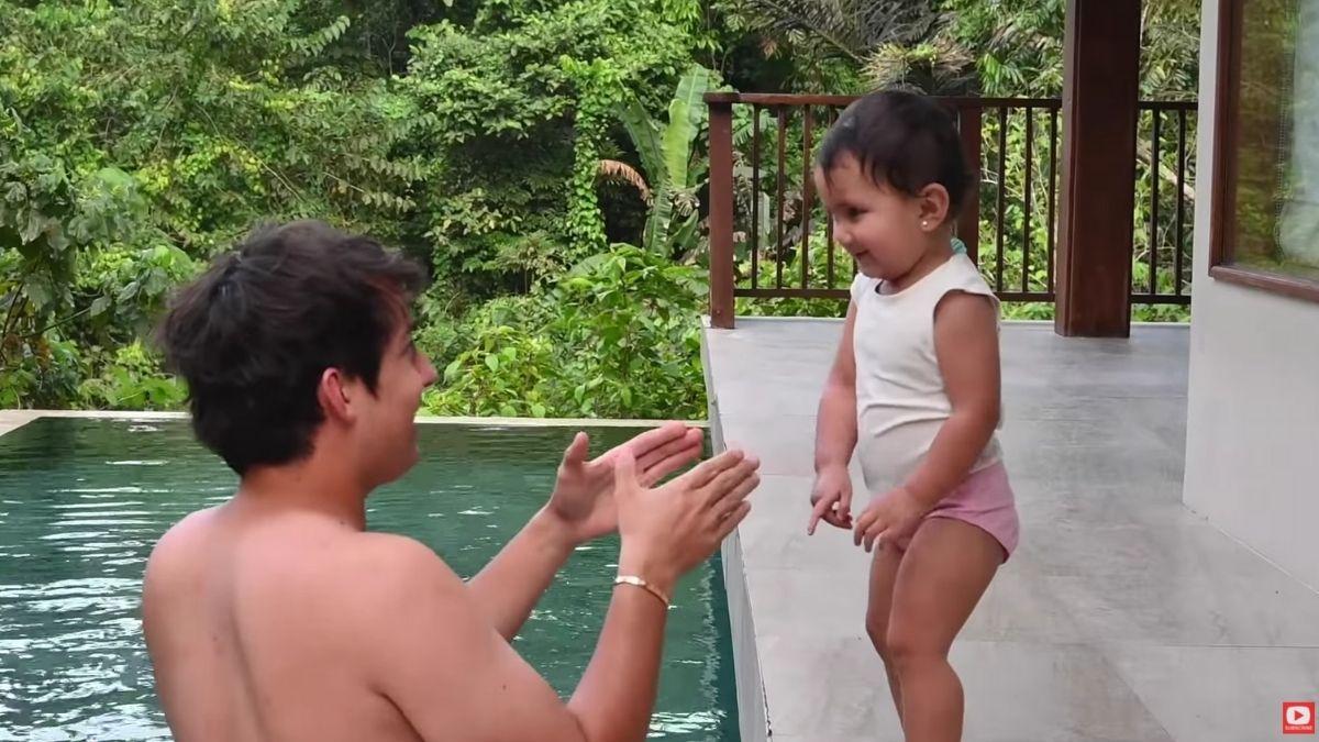 Daniel Miranda playing with Zoe Miranda at The Farm at San Benito