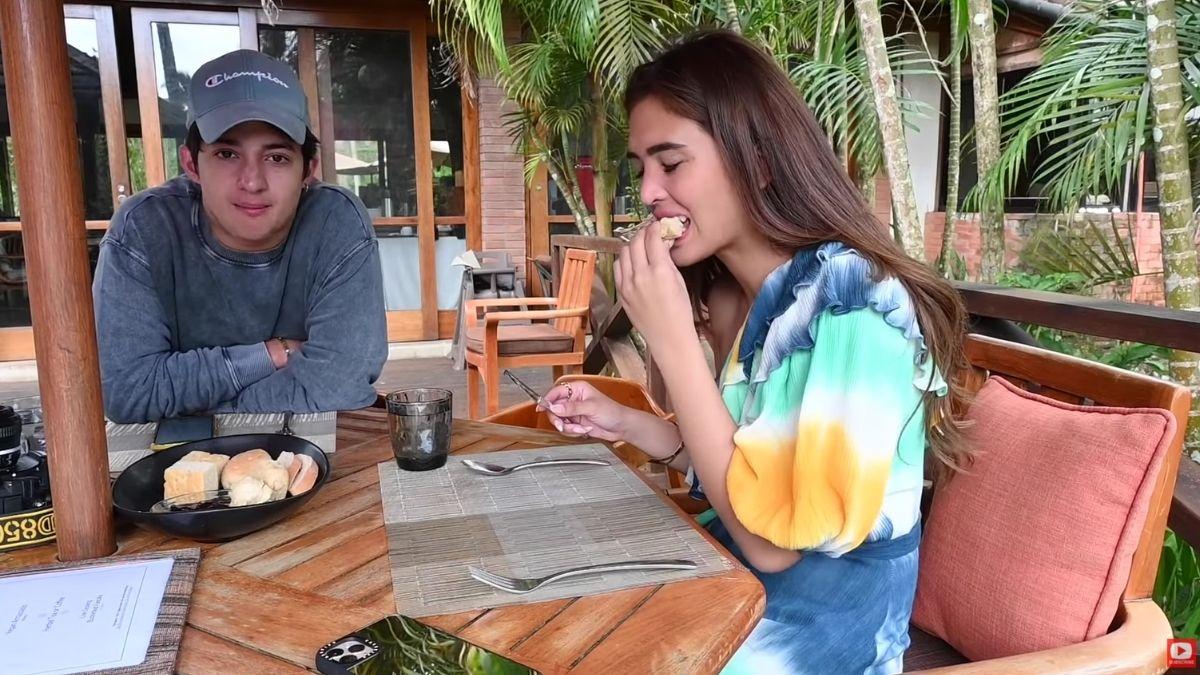 Sofia Andres and Daniel Miranda eating at The Farm at San Benito