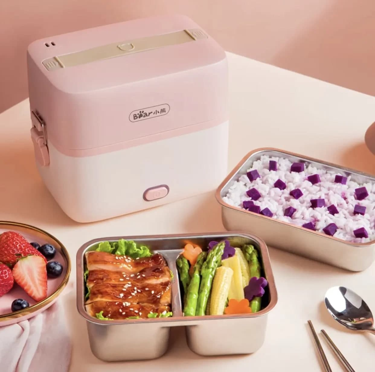 Pink items: electronic lunch box