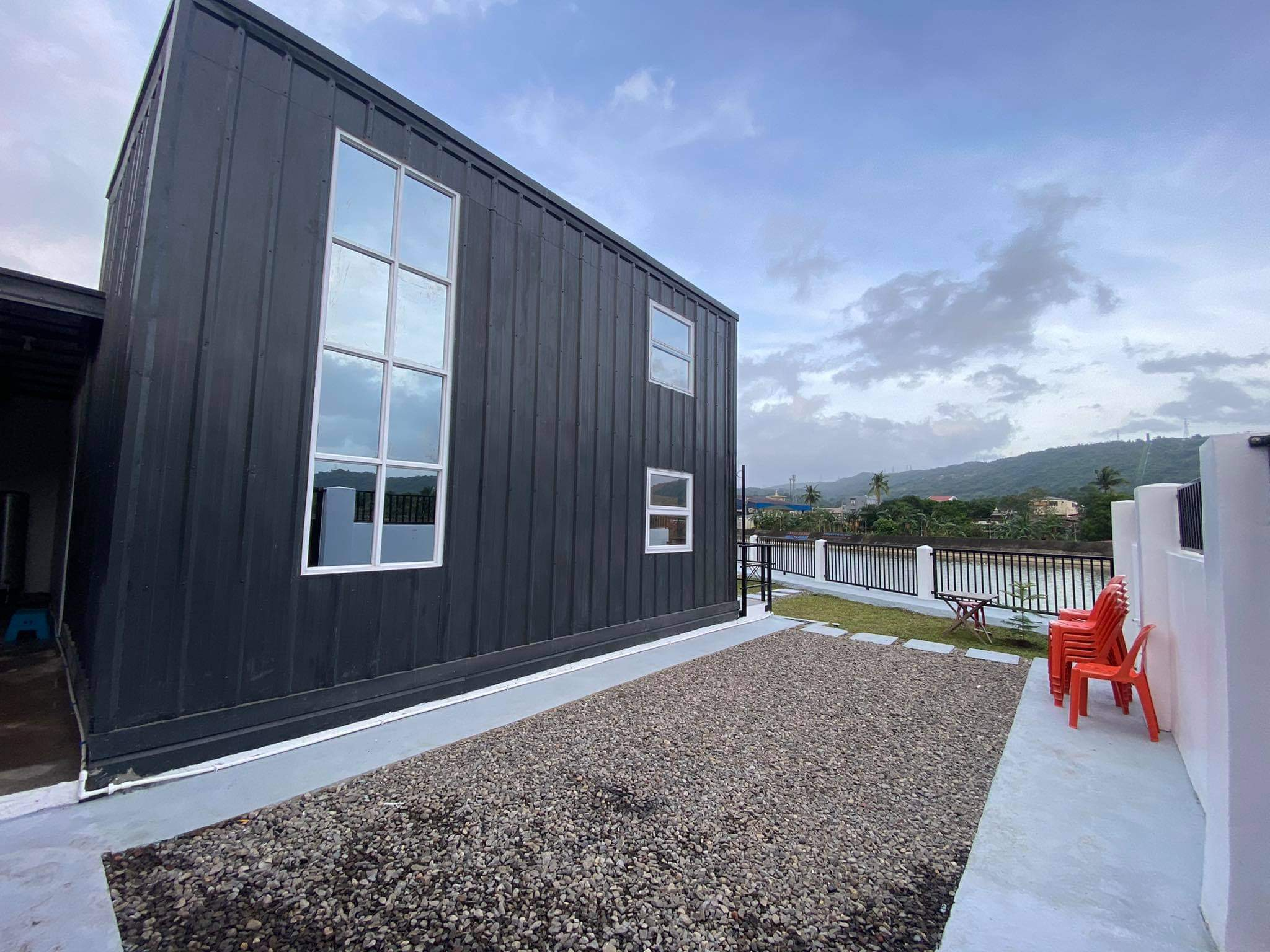 Minimalist exterior of a shipping container home