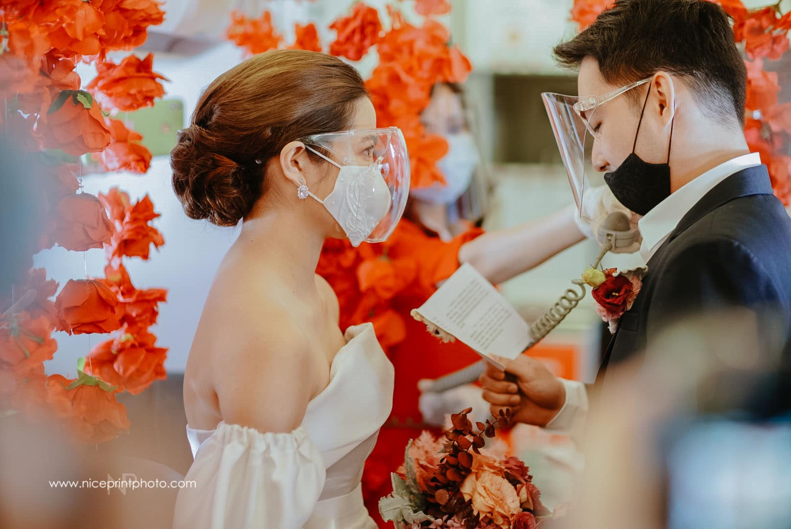 wedding of two flight attendants during a commercial flight: ceremony proper