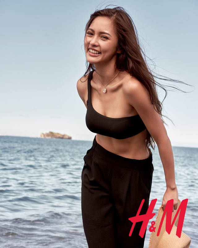 Kim Chiu H&M Philippines: black asymmetric top black pants