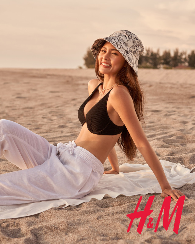 Kim Chiu H&M Philippines: black bikini top white pants