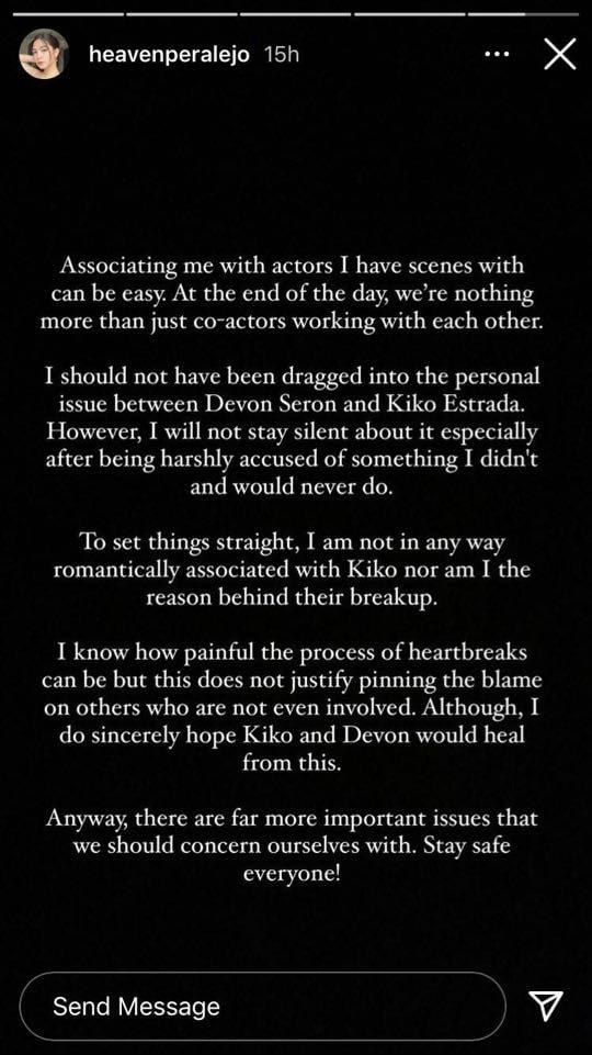 Heaven Paralejo's Statement on the Devon Seron and Kiko Estrada Issue