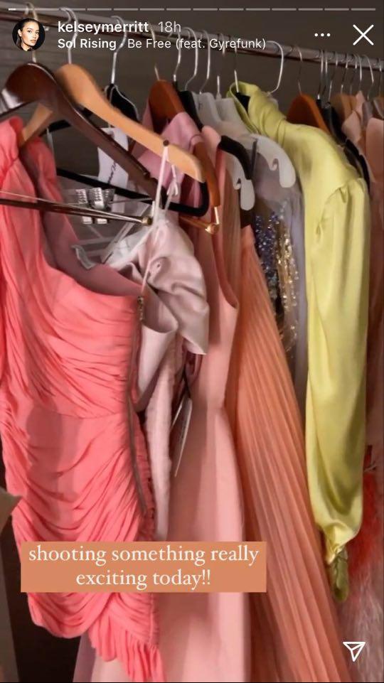 Kelsey Merritt showing off dresses in her IG stories