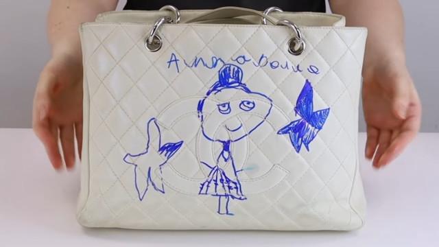 Chanel bag restoration: Ink drawing on the bag