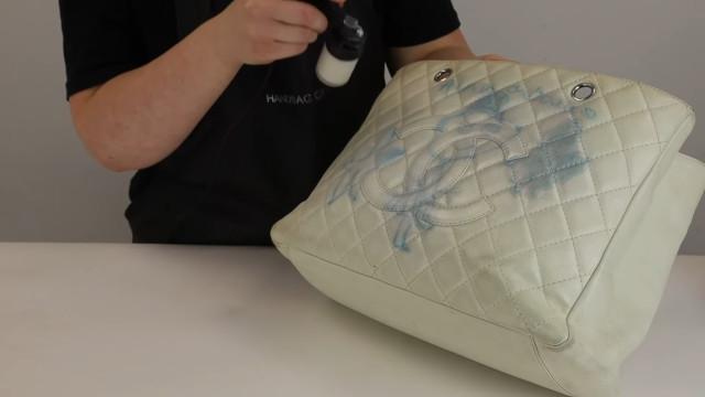 Chanel bag restoration: Spray paint the bag
