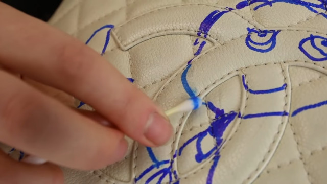 Chanel bag restoration: Carefully remove ink stain
